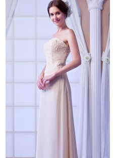 Champagne Chiffon Mother of Groom Dress with Long Sleeves