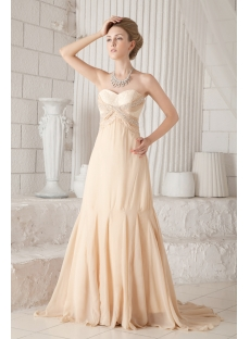 Champagne Chiffon Plus Size Prom Gown 2013