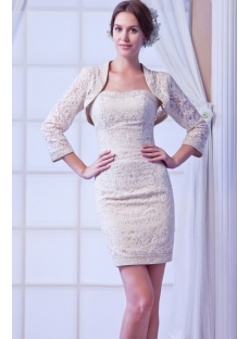 Champagne Lace Mini Bridal Gowns with Jacket