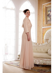 Champagne Mother Of Bride Dress With Long Sleeves Jacket