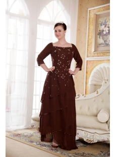 Chocolate Square Mother of Bride Dress with Long Sleeves