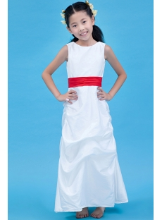 Classic Ankle Length Red Flower Girl Dress