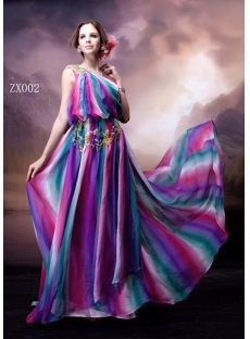 Colorful Bohemian One Shoulder Evening Dress