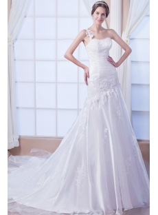 Destination Casual One Shoulder Wedding Gown