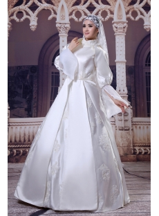 Detachable Long Sleeves Muslim Bridal Ball Gown