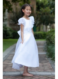 Elegant Ivory Formal Girl Party Gown with Short Sleeves