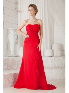 Elegant Red Long Chiffon Evening Dress
