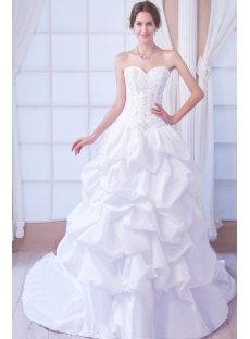 Embroidery Pick up Ball Gown Wedding Dress 2012