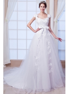 Floral Luxury Wedding Dress with V Back