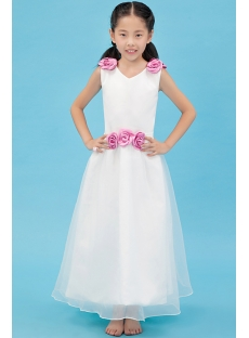Fuchsia V-neckline Flower Girl Dress Cheap
