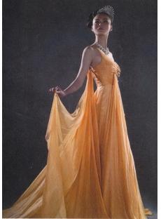 Glamorous Orange One Shoulder Pageant Prom Dresses