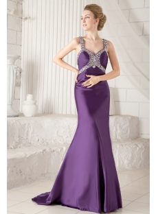 Grape Sheath Sexy Evening Dress with Cross Straps