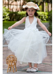Halter Tea Length Casual Flower Girl Dresses for Beach Wedding:1st ...