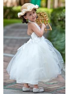 Tea Length Casual Flower Girl Dresses For Beach Wedding 1st