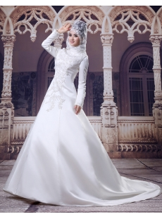 High Neckline Modest Long Sleeves Islamic Wedding Gown