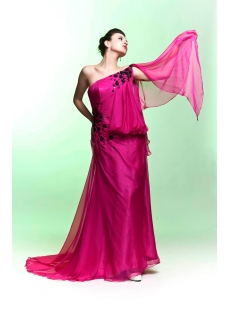 Hot Pink Asymmetrical Neckline Celebrity Dress with Black