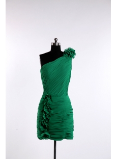 Hunter Green Mini Short Cocktail Dress with One Shoulder