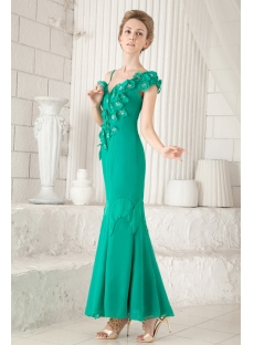 Hunter Green V-neckline Ankle Length Mother of Groom Gown