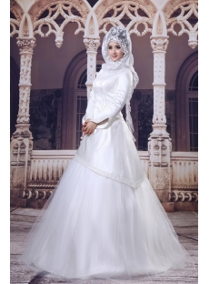 Ivory 3/4 Long Sleeves Islamic Wedding Dresses