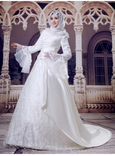 Ivory Hijab Wedding Dress with Trumpet Sleeves