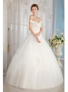 Ivory Off Shoulder Cinderella Ball Gown Wedding Dresses