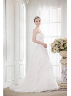 Ivory Organza A-line Cheap Plus Size Bridal Gowns