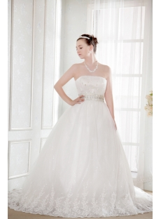 Ivory Strapless Empire Plus Size Discount Bridal Gowns
