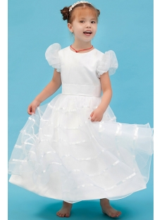 Ivory Toddler Flower Girl Dresses Cheap with Short Sleeves