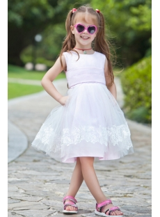 Ivory Vintage Tulle Flower Girl Ball Gown