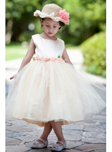 Ivory and Champagne Romantic Flower Ball Gown Dress with Flowers