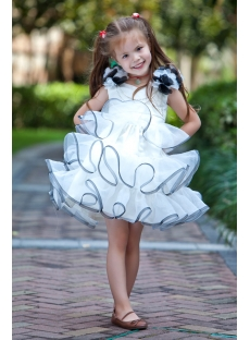 Ivory and Navy Cute Flower Girl Dresses