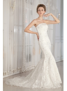 Jeweled Sheath Lace Wedding Gown Dress with Corset