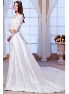 Lace Long Sleeves Modest Winter Wedding Dress 2013