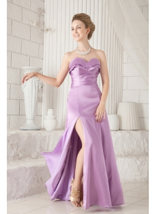 Lilac Slit Graduation Dresses for College
