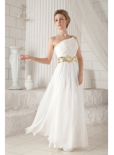 Long Chiffon One Shoulder Ivory Evening Dress with Slit Front