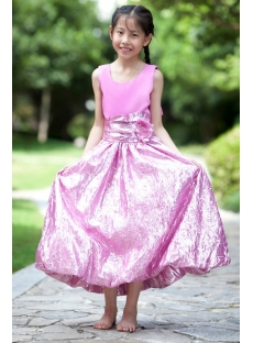 Long Lilac Cheap Flower Girl Gown