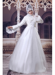 Long Sleeves Lace Islamic Court Bridal Gowns