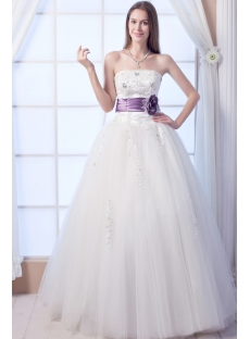 Long Tulle Pretty Quinceanera Dress with Purple Flowers