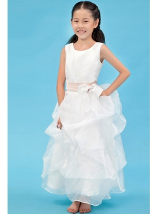 Lovely Ankle Length First Communion Dresses with Pink