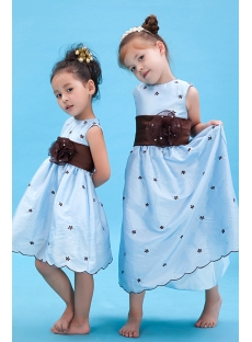 Lovely Blue Baby Doll Flower Girl Dress with Brown Waistband