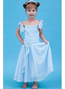 Lovely Blue Flower Girl Dress with Straps