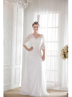 Modest Bridal Gown for Older Lady with Lace Sleeves