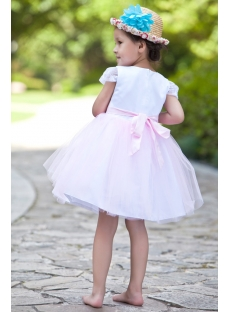 Modest Cheap White and Pink Flower Girl Dress