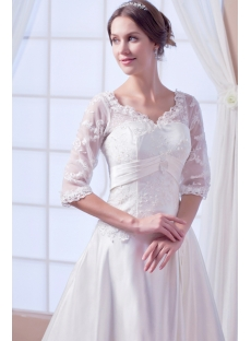 Modest Formal Lace Bridal Gown with Middle Length Sleeves
