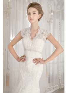 Modest Lace Illusion Back Wedding Dresses with Cap Sleeves