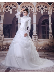 Modest Long Sleeves Arab Wedding Dresses