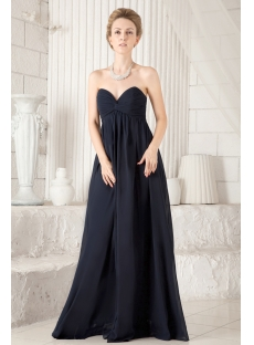 Navy Blue Chiffon Sweetheart Maternity Prom Dress