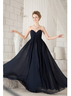 Navy Blue Chiffon Sweetheart Maternity Prom Dress:1st-dress.com