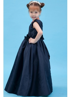 Navy Blue Party Dress for Girl with V-neckline