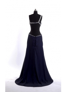 Navy Blue Plus Size Sexy Evening Dress with Open Back